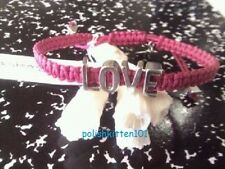 BCBG ~*LOVE*~ AFFIRMATION BRACELET FUSCHIA MACRAME/SILVER NWT SOLD OUT!