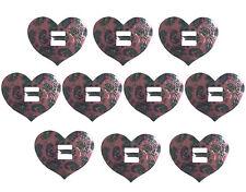 10 Pink Heart Metal Western Bolo Slotted Concho Slides Scarf Belt Buckles Vtg