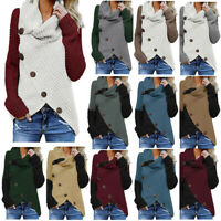 Womens Long Sleeve Knitted Sweater Jumper Cardigan Knitwear Winter Outwear Tops