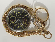 Vintage Soviet USSR Molnija pocket watch. Rare luminous pilot dial. Open face
