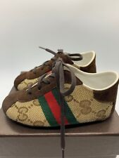 Authentic Baby Gucci Shoes 259983 FWHU0 9769 Beige Cocoa Leather & Canvas 19