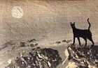 Original ACEO Cat Painting Black Kitten Miniature Art By N.Collins