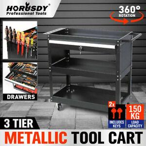 3-Tier Tool Cart Storage Trolley Lock Drawer Parts Organizer Mechanic Heavy Duty