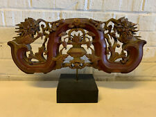 Antique Chinese Qing / Republic Wood Architectural Element Foo Dogs Dragons Dec.