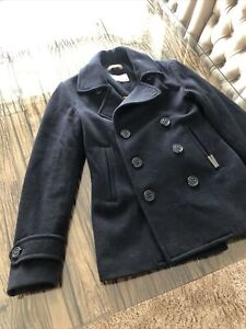 Mens Superdry Commodity Navy Pea Coat Double Breasted Size Small