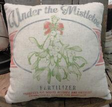 Under the Mistletoe Fertilizer Sack Throw Pillow -Primitive By Kathy-2 Sided