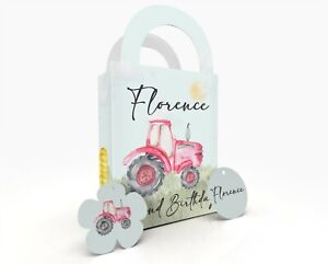 Personalised Pink/Red Tractor Children Party Bag Gift Favour Box Treat Bag Pink