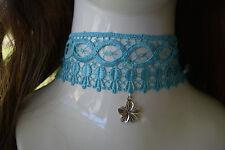 Aqua LACE Choker/necklace.Vintage-Retro-Goth-Emo.Wedding Party,Fancy dress. A562
