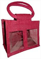 2 JAR JUTE BAG with Window,Partition & Cotton Corded Handles - Pink