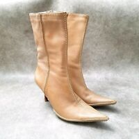 Lui Chimy Womens 1616 Sz 10 M Tan Leather Mid Calf Heeled Boots