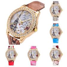 Women Vintage Paris Eiffel Tower Leather Quartz Watch Casual Crystal Wristwatch