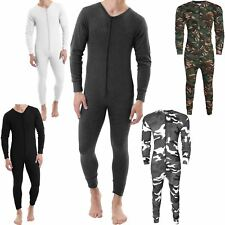 MENS THERMAL ALL IN ONE JUMPSUIT UNDERWEAR PLAYSUIT BASELAYER ZIP UP BODYSUIT