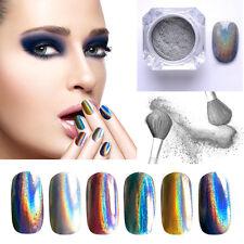 Mirror Holographic Laser Nail Art Glitter Powder Rainbow Chrome Pigment *