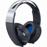 NEW SONY PLAYSTATION 4 PLATINUM WIRELESS HEADSET BLACK & SILVER GAMING HEADPHONE