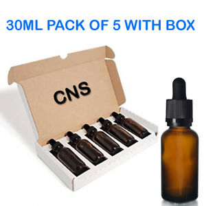 5 x 30ml Amber Glass Aromatherapy Eye Ear Oil Solution Dropper Pipette Bottles