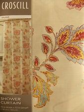 NEW CROSCILL DUNE IVORY FABRIC SHOWER CURTAIN