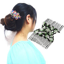 Women Stretch Rose Flower Glass Magic Bead Hair Head Comb Cuff Double Clips New