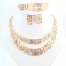 African Costume Necklace Set Party Women 18K Gold Plated Crystal Jewelry Sets