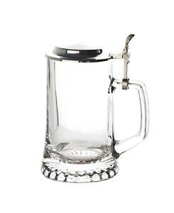 Bierseidel mit Zinndeckel Bierkrug Maßkrug Brauereikrug Bierglas Henkel 0,5L