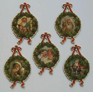 Vintage Shackman Victorian Santa Wreath Ornament Lot of 5 Diecut & Gold Stamped