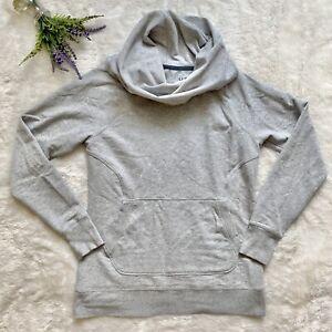 LL Bean cowl Neck Pullover Sweatshirt Size Medium Heather Gray Pouch Pocket