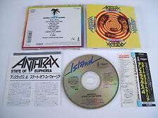 ANTHRAX State of Euphoria CD 1988 OOP RARE ORG 1st PRESS JAPAN!!! Japanese