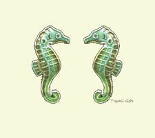 SEAHORSE Green Cloisonne Post EARRINGS by Bamboo Jewelry STERLING & Enamel - Box