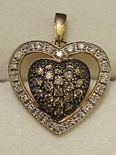 Affinity 14k Chocolate And White Diamond Heart Pendant
