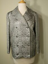 Vintage Silver Brocade Double Breasted Ladies Jacket Rhinestone buttons - M/L