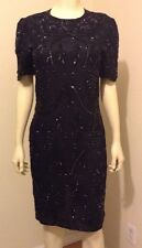 PARTY EVENING BLACK SHEER LINED COCKTAIL SEQUINED DRESS SIZE XS S