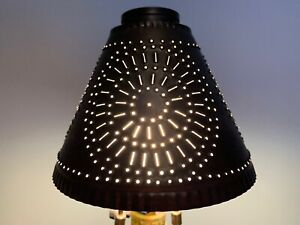 Country new Open Box Crestwood /Cambridge black punched tin lamp shade a293
