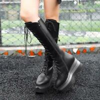 Fashion Punk Women's Knee High Boots Wedge Heel Platform Lace Up Shoes Party HOT