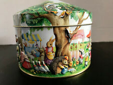 """Collectible Churchill's Uk Easter Spring """"Woodland Fair"""" embossed tin, empty Euc"""