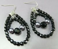 VTG DANGLE EARRINGS Black Faceted Beads GUNMETAL TRIM Silver DOUBLE LOOP DROPS