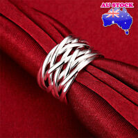 Wholesale 925 Sterling Silver Filled Adjustable Weave Plain Band Ring Jewelry