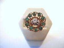 BELLE BAGUE RONDE EN OR 18K ET PLATINE DIAMANT ET ÉMERAUDES or 18 carats