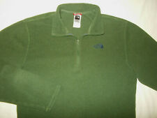 THE NORTH FACE 1/4 ZIP LONG SLEEVE OLIVE GREEN FLEECE SHIRT MENS MEDIUM EXCELL.