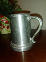 Vintage English Pewter Tankard Stein With Glass Bottom Curved Handle