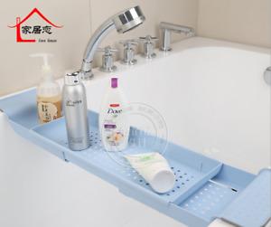 Home Bathroom Tub Tray Rack Over Bath Caddy Extendable Soap Shower Storage Shelf