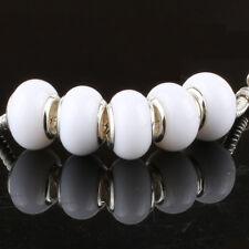 5pcs Jelly White MURANO bead LAMPWORK fit European Charm Bracelet