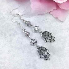 Silver Hamsa Hand Earrings, Long Drop Earrings, Yoga & Meditation Jewellery