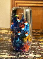 """Large Gorgeous Murano Style Art Glass Paperweight 9 Fish  Aquarium Coral Reef 6"""""""