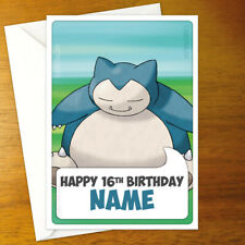 SNORLAX Personalised Birthday Card - leaf personalized pokemon pokémon greeting
