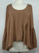 Double Zero casual Bohemian chic sheer blouse-top,dark mocha, Long sleeve, Small