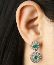 Modern Floral 2.0tcw Colombian Emerald & Diamond Dangle Stud Earrings