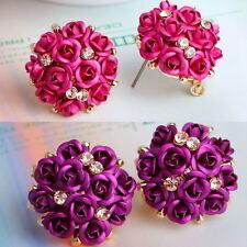 Women Girls Elegant Rose Flower Crystal Rhinestone Ear Stud Earring Jewelry Hot