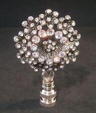 LAMP FINIAL-ANTQ. SILVER RHINESTONE FLOWER LAMP FINIAL-SATIN NICKEL BASE