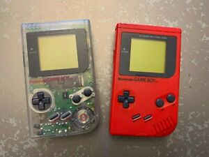 2 Original Nintendo GameBoy DMG-01 Consoles RED and CLEAR - Untested