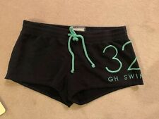 Gilly Hicks Cotton Shorts, Navy, Green Words And Tie Waist, Size Small