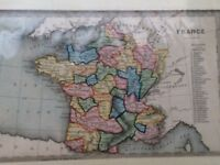 FRANCE ANTIQUE MID 19th CENTURY MAP BY T STARLING IN COLOUR